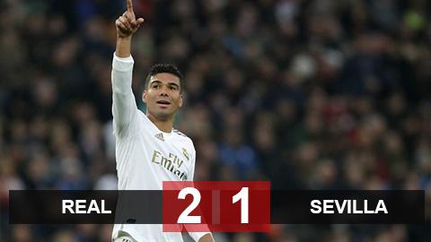 Real 2-1 Sevilla: Casemiro tỏa sáng, Real tạm chiếm ngôi đầu của Barca
