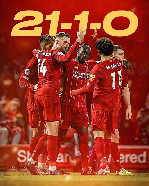 Không đội nào tại 5 giải hàng đầu thắng 21 và hòa 1 sau 22 trận đầu như Liverpool