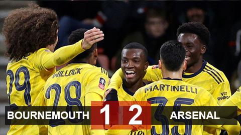 Bournemouth 1-2 Arsenal: Hạ Bournemouth, Arsenal tránh được Chelsea, M.U, Man City ở vòng 5 cúp FA