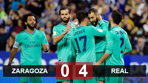 Zaragoza 0-4 Real: Đại thắng đội hạng 2, Real ung dung vào tứ kết Cúp Nhà Vua