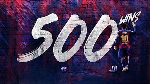 Messi cán mốc 500 trận thắng với Barca