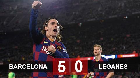 Barcelona 5-0 Leganes: Griezmann & Messi rực sáng đưa Barca vào tứ kết cúp Nhà vua