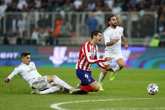 Morata suýt có bàn thắng vào lưới Real nếu không bị Valverde phạm lỗi ở chung kết Siêu Cúp Tây Ban Nha 2020