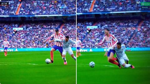 """Atletico bị trọng tài """"cướp"""" trắng trợn 1 quả penalty?"""