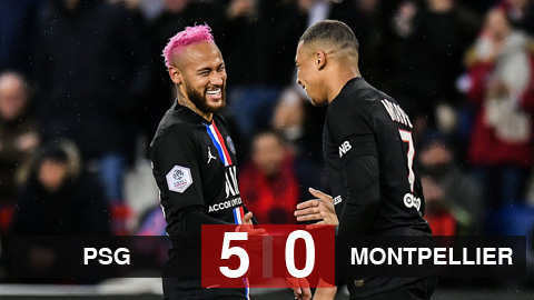 Kết quả PSG 5-0 Montpellier: Chiến thắng 5 sao