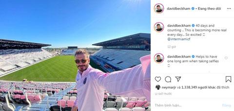 Beckham tự sướng khoe sân bóng mới của mình