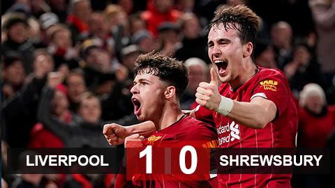 Liverpool 1-0 Shrewsbury: Người cũ M.U giúp Liverpool vào vòng 5 cúp FA gặp Chelsea
