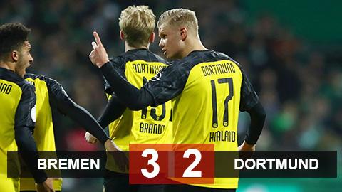 Bremen 2-3 Dortmund: Haaland nổ súng lần thứ 8 nhưng không cứu được Dortmund