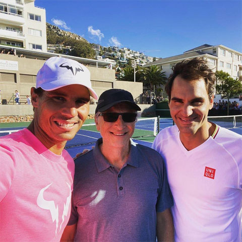 """Ngoài trận đơn, Nadal sẽ đấu với Federer trong trận đôi khi """"Tàu tốc hành"""" đánh cặp với tỷ phú Mỹ, Bill Gates"""
