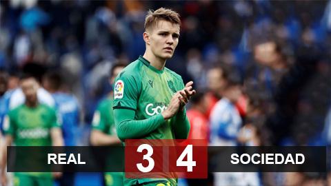 Real 3-4 Sociedad: Odegaard có bàn đầu tiên tại Bernabeu, Sociedad loại Real tại tứ kết Cúp Nhà Vua