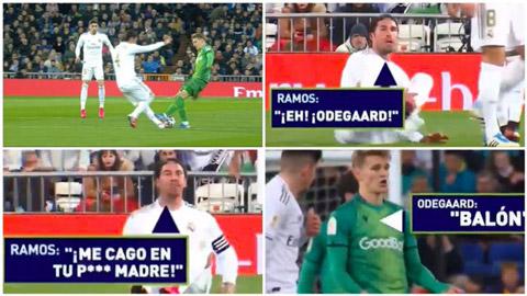 Ramos văng tục với Odegaard ở trận thua của Real