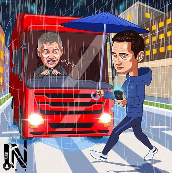 Lampard lại thêm một lần bị xe bus của M.U xử đẹp