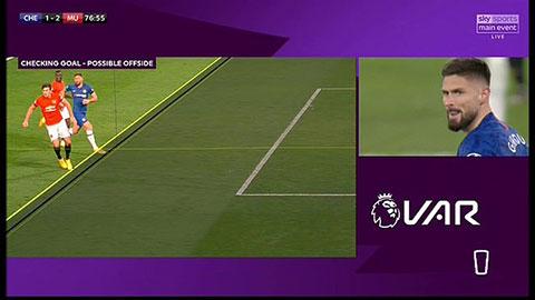 Theo luật hiện tại, bàn thắng của Giroud không được công nhận vì việt vị
