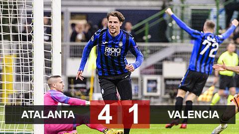 """Kết quả Atalanta 4-1 Valencia: """"Xơi tái"""" Bầy dơi, Atalanta đặt một chân vào tứ kết"""