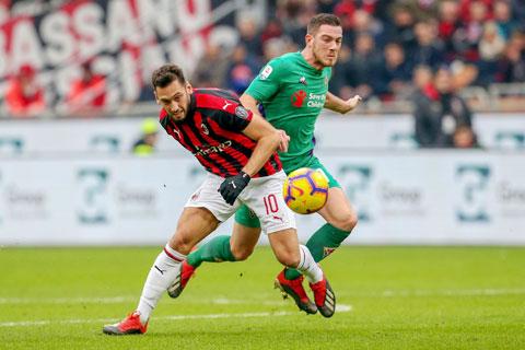 Milan (trước) khó lành lặn trở về sau chuyến đi đến sân Artemio Franchi của Fiorentina
