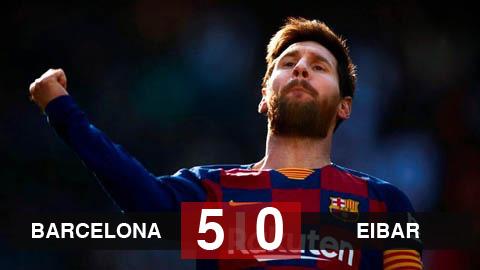 Barca 5-0 Eibar: Braithwaite kiến tạo, Messi lập poker đưa Barca lên đầu bảng