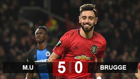 M.U 5-0 Brugge: Ighalo, Bruno Fernandes tỏa sáng, M.U vào vòng 1/8 đầy thuyết phục