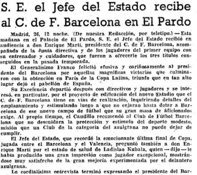 Bài báo trên tờ La Vanguardia tường thuật lại việc BLĐ Barca đến thăm Franco