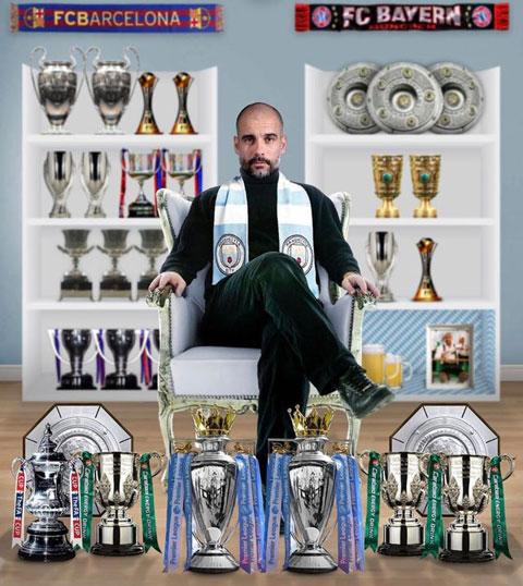 Pep đã giành 29 danh hiệu khi dẫn dắt Barca, Bayern và Man City