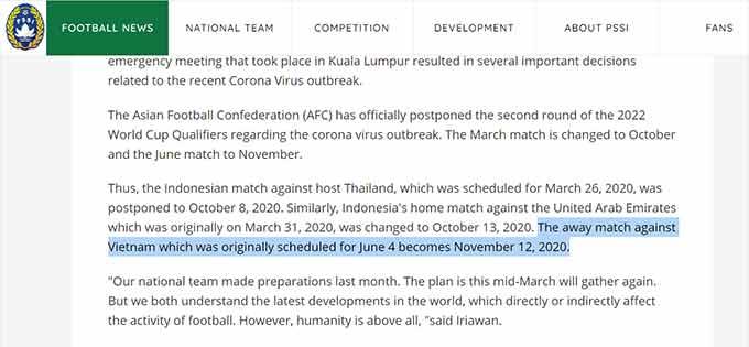 LĐBĐ Indonesia thông báo về việc lùi lịch các trận ở vòng loại World Cup trong tháng 3