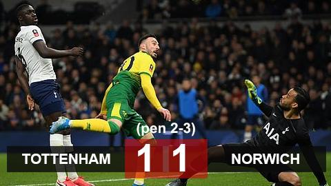 Tottenham 1-1 (pen 2-3) Norwich: Thua trận thứ 4 liên tiếp, Tottenham dừng bước ở vòng 5 cúp FA