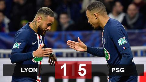Lyon 1-5 PSG: Mbappe lập siêu phẩm solo hơn 70m, PSG vào chung kết cúp Quốc gia