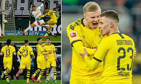 Các cầu thủ Dortmund phấn khích sau chiến thắng quan trọng trước chủ nhà M'gladbach