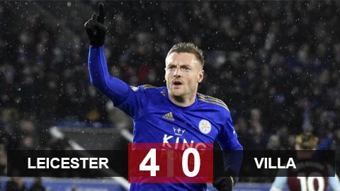 Leicester 4-0 Aston Villa: Bầy cáo cắt mạch 4 trận không thắng, Vardy bứt tốc Vua phá lưới