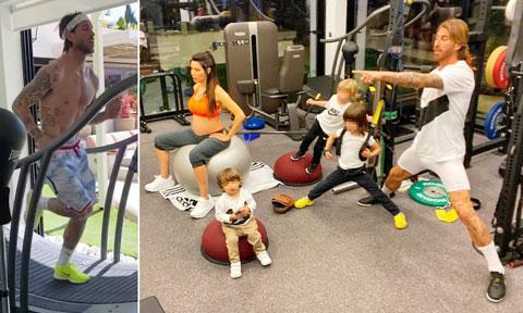 Ramos tập luyện tại nhà với gia đình để duy trì thể lực