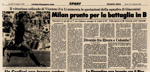 Báo chí đưa tin Milan xuống hạng vì scandal Totonero