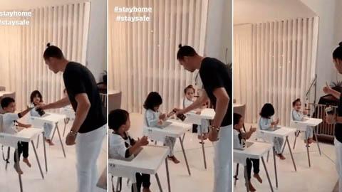 Ronaldo làm thầy giáo, hướng dẫn các con rửa tay chống dịch Covid-19