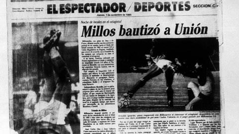 Trận đấu giữa Millonarios và Union Magdalena trên báo  Colombia năm 1985