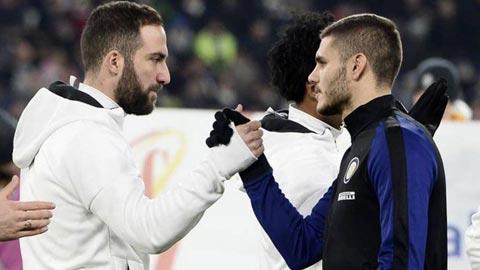 Juve mong Higuain (trái) nhanh ra đi để đón Icardi về càng sớm càng tốt
