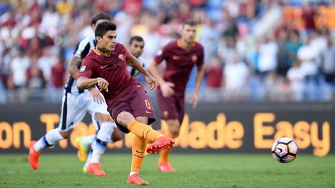 Diego Perotti sút thành công 23 trong tổng số 25 lần đứng trước chấm penalty trong màu áo AS Roma