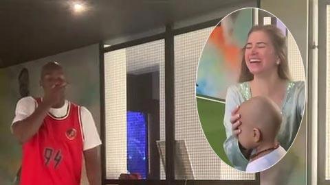 Pogba ôm mặt sốc vì bạn gái đá giấy vệ sinh vào mặt con trai