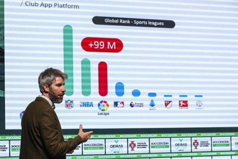 Ông Daniel Vicente, Trưởng phòng Ứng dụng và Game của La Liga, giới thiệu ứng dụng tại sự kiện Soccerex