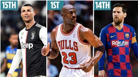 Top 50 VĐV thể thao vĩ đại nhất:  Michael Jordan đứng số 1, Messi và Ronaldo nằm ngoài top 10