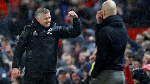 HLV Solskjaer ăn mừng khi giúp M.U đánh bại Man City 1-0 hồi cuối tháng 1