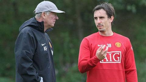 Ferguson và Neville thời còn gắn bó tại M.U