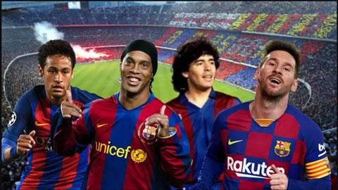 Messi không dẫn đầu BXH những danh thủ vĩ đại nhất mọi thời của Barca
