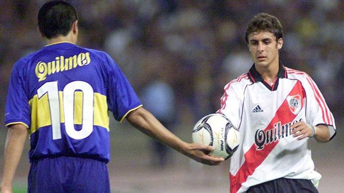 Aimar và Riquelme ngày cả hai còn ở Argentina