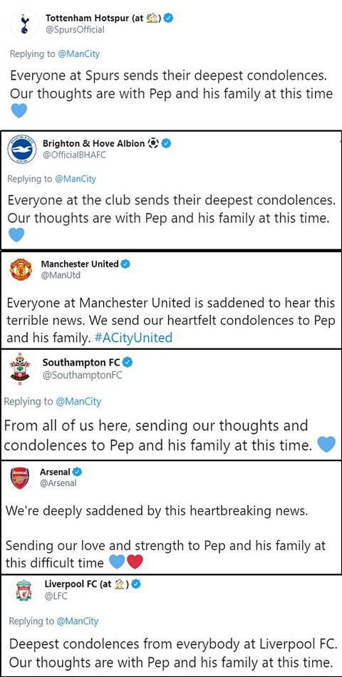 Nhiều CLB gửi lời chia buồn tới Pep