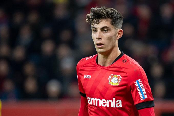 Kai Havertz (Bayer Leverkusen): Giá hiện tại 81 triệu euro, giảm 9 triệu euro (10%)