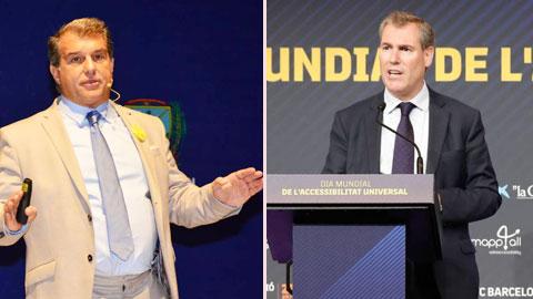 Cựu chủ tịch Laporta (trái) và cựu phó chủ tịch Rousaud là 2 ứng viên nặng ký nhất trong cuộc đua tranh ghế chủ tịch Barca
