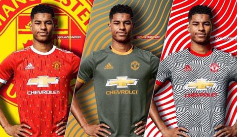 3 mẫu áo đấu dự kiến của M.U mùa 2020/21