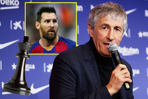 HLV Setien vẫn luôn coi Messi (ảnh nhỏ) là quân cờ quan trọng của Barca