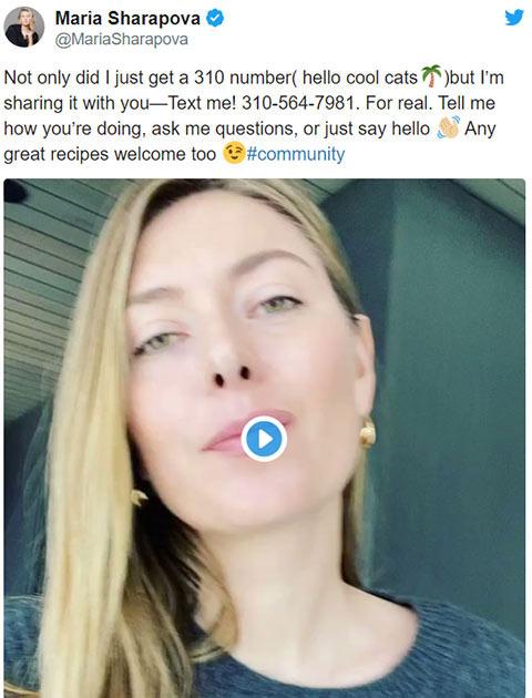 Sharapova chia sẻ SĐT cá nhân lên mạng xã hội