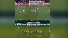 Pha sút phạt giống nhau đến kỳ lạ của Ronaldo và Messi