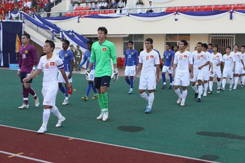Tấn Trường trong màu áo ĐT Việt Nam ở chung kết SEA Games 25Ảnh: MINH TUẤN