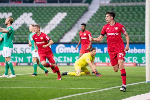 Havertz (29) lập cú đúp đều từ đánh đầu vào lưới Bremen